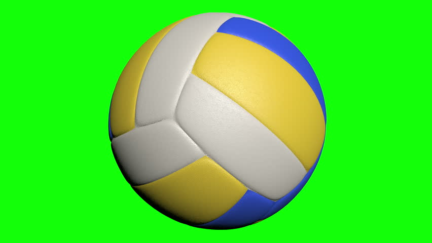 Volleyball rotating, seamless loop. 4K UHD Full HD animated video of isolated photorealistic volleyball rotating on the green screen. Rotation on a transparent background, ready to use for any footage