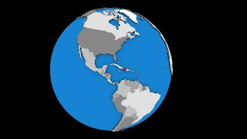 Haiti coming forward towards camera on gently rotating political globe. 3D animation.