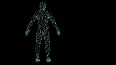 Rendered animation of a holo plexus human body consisting of particles rotating a full revolution around Z axis with mask attached