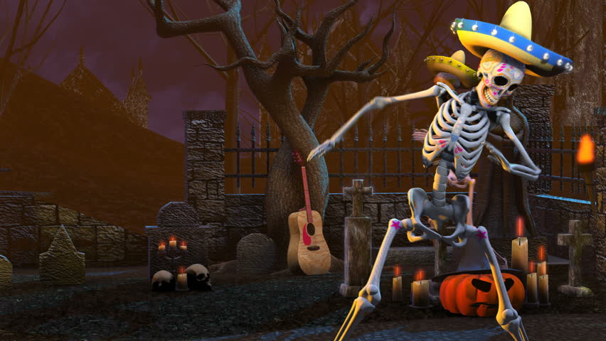 Seamless animation mexican sugar skeletons dancing salsa in a graveyard. Funny Halloween 4K background.