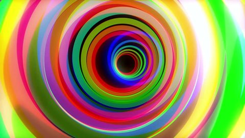 Colorful tunnel. Animation of flight through color circles. Marquee Glow Colorful Rings Psychedelic Tunnel Ride Motion Background