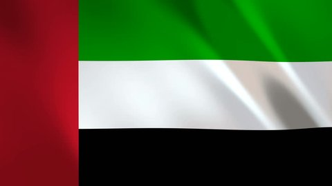 United Arab Emirates Flag waving in the wind - looped animation background.