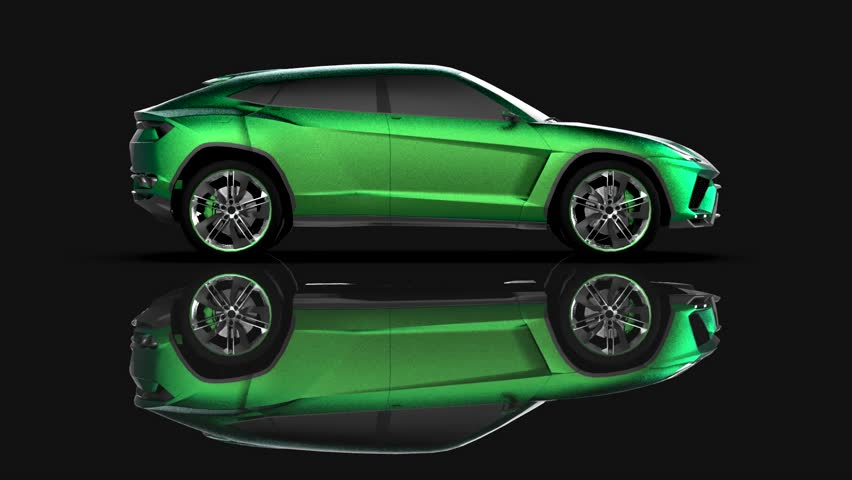 The newest sports all-wheel drive green premium crossover in a black studio with a reflective floor | Shutterstock HD Video #1015258939