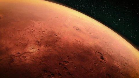 Orbiting Planet Mars. High quality 4K CG animation.