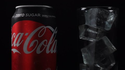 Hong Kong,21-August-2018,Coca-Cola zero zugar can rotating on black background. Coca-Cola is a carbonated soft drink produced by The Coca-Cola Company - American multinational beverage corporation.