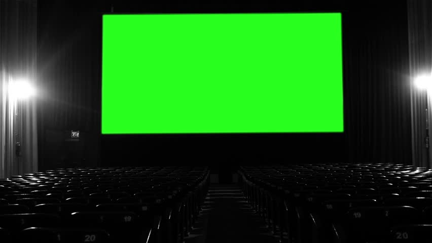 "Movie Theater with Green Screen. BW Tone. You can replace green screen with the footage or picture you want with ""Keying"" effect in AE  (check out tutorials on YouTube). 