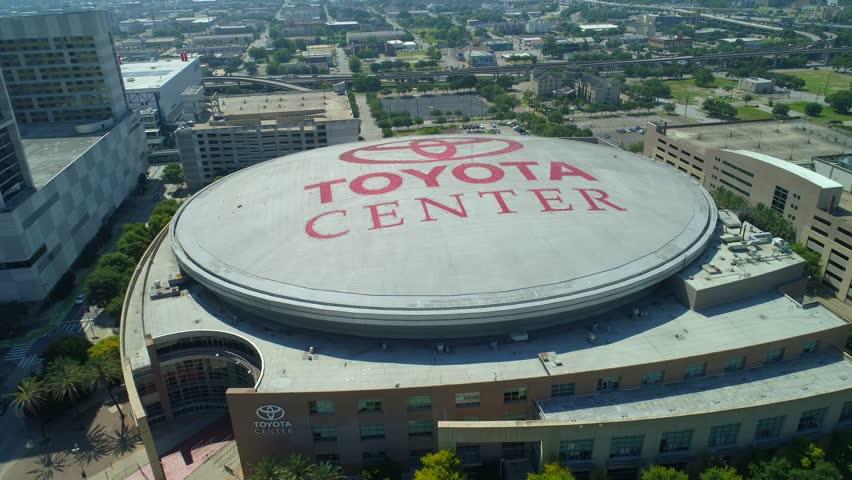 HOUSTON, TEXAS, USA - AUGUST 1, 2018: Aerial drone footage of Toyota Center Houston