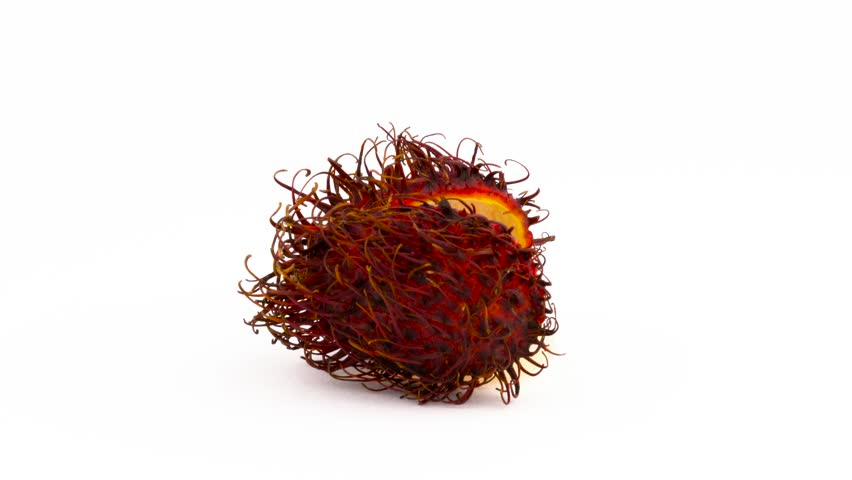 Half cut red color rambutan fruit. Cross section. Rotating on the turntable isolated on the white background. Close up. Macro.
