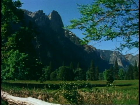 YOSEMITE NATIONAL PARK, CALIFORNIA, 1978, in spring, wide meadow, mountains
