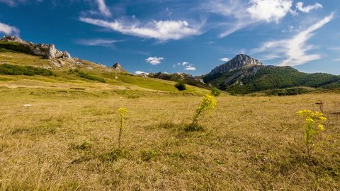 4k timelapse footage of the Pena Abismo Mountain viewed from Puerto de Piedrasluengas, on the Cantabria-Palencia border. Natural Park of Fuentes Carrionas and Fuente Cobre-Montana Palentina, Spain.