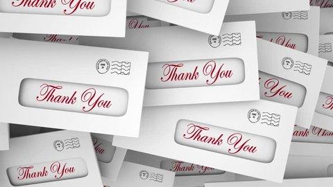 Thank You Appreciation Envelopes Rewards 3d Animation