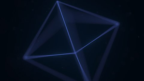 Blue Platonic solid octahedron rotating. Computer graphics related loopable motion background