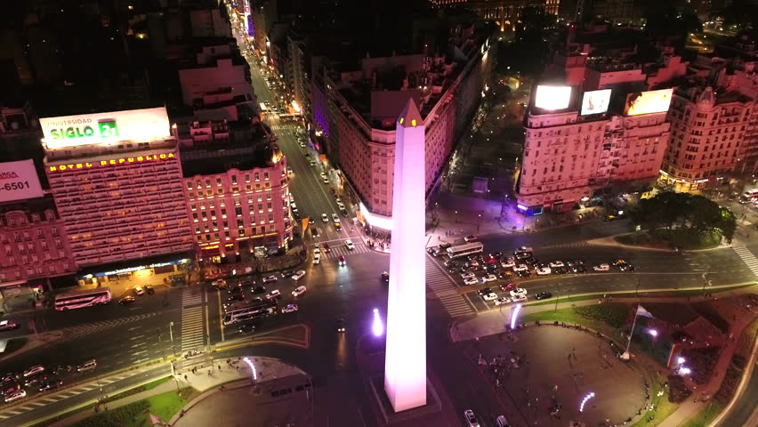 Buenos Aires, Argentina - 11/19/2017 Obelisco de Buenos Aires (Obelisk of Buenos Aires) at night | Shutterstock HD Video #1015457899