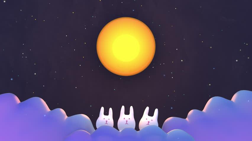 Chinese Mid Autumn Festival animation. Cute rabbits under big full moon.