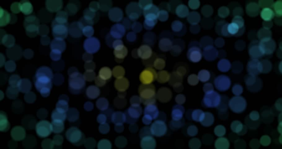 Dark green, yellow, blue circle bokeh lights. computer generated loopable abstract motion background. 4k pogressive, loop