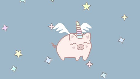 Cute animation with flying pig unicorn on the sky with stars. Cartoon style 4k loop video background for on the Chinese Pig Year 2019.