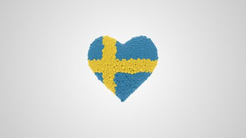 Sweden National Day. June 6. Heart animation with alpha.