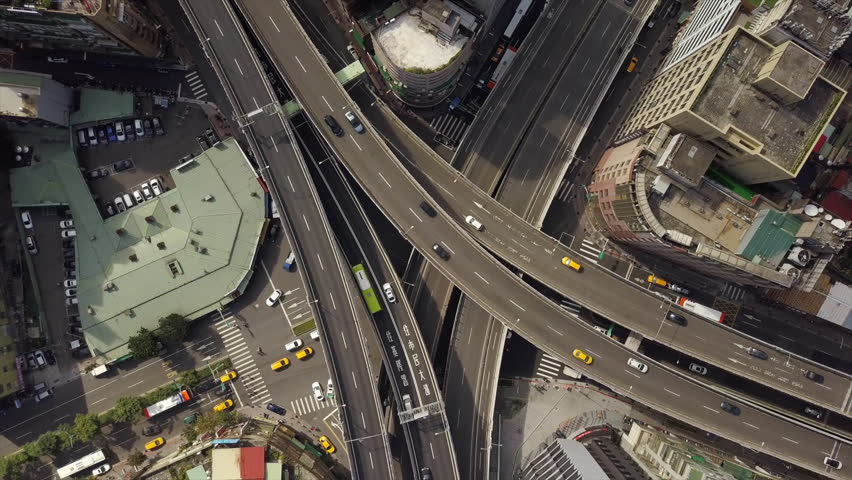 Cityscape day time traffic road junction aerial down view 4k taiwan | Shutterstock HD Video #1015560619
