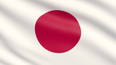 The flag of Japan. Waved highly detailed fabric texture.