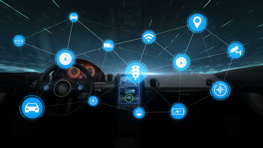 Inside of Future hybrid cars, IoT car connect traffic information graphic icon control system, Internet of things,  Global network connection, 4k animation. 2. | Shutterstock HD Video #1015594609