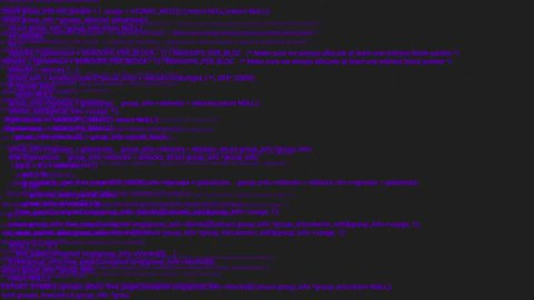 Purple screen coding hacker concept animation with glitch. Programming code typing error. Big data and Internet cyber attack. Programming code abstract. Blockchain concept, computer digital code