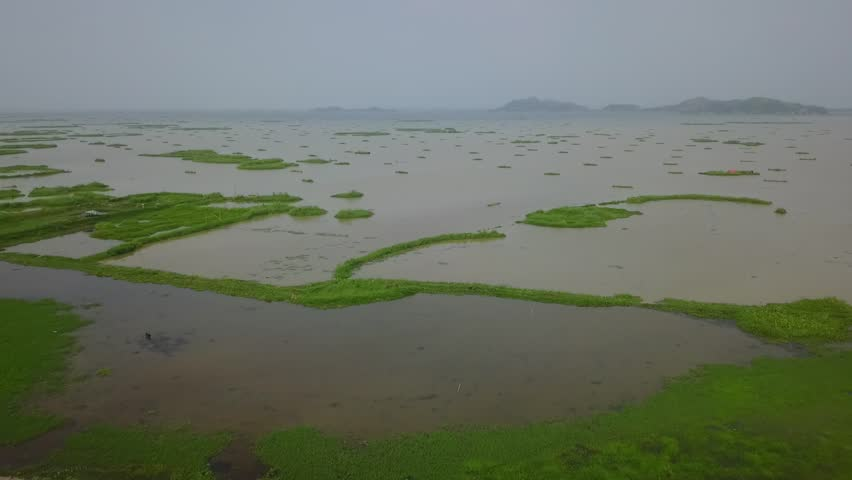 Moirang, MANIPUR / India - 07 13 2018: arial view of loktak lake