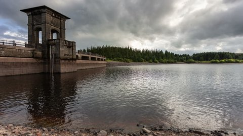 4k time lapse of clouds over Alwen reservoir dam in North Wales