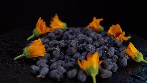 Dark honeysuckle berries and orange calendula flowers rotate counter-clockwise against a black background, seamless looping.