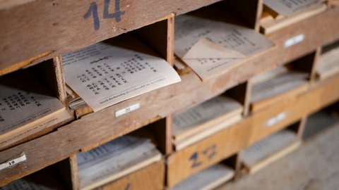 Chinese Fortune forcast paper, traditional Seam-Si, Kau cim, Chi-Chi future teller in temple. Predicted sooth saying papers for answer of Fortune Sticks, asian ancient divination, oracle poetry.