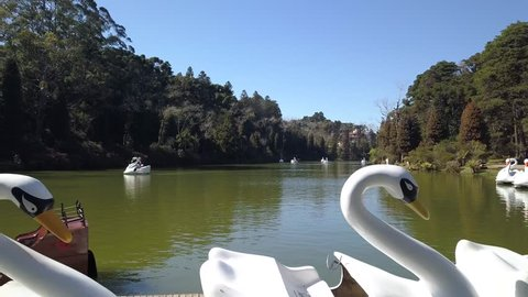 Lago Negro (Black Lake) between the forest, white swan and pirate ship pedal boat (pedalinho) - Gramado, Canela Rio Grande do Sul, Brazil - Aerial view