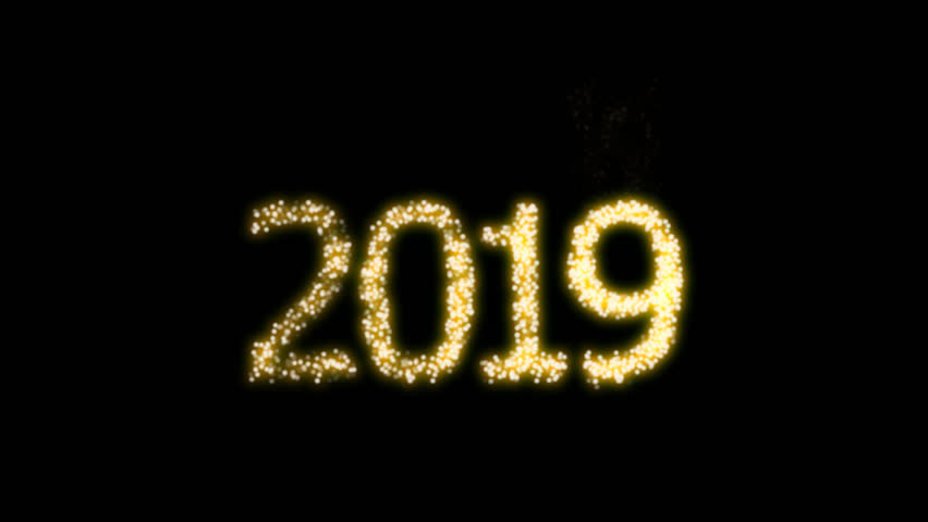 Happy New Year 2019 Video Animation with dynamic particles with alpha clip. For designing animated greeting cards and banners. | Shutterstock HD Video #1015756219