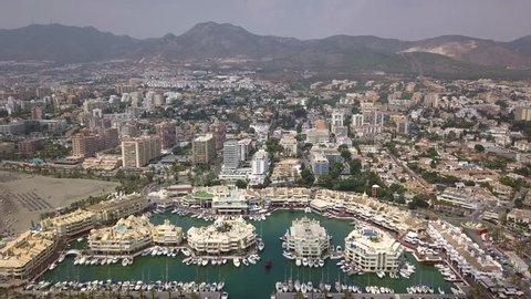 Aerial view of Benalmadena Puerto Marina Malaga Costa del Sol Spain