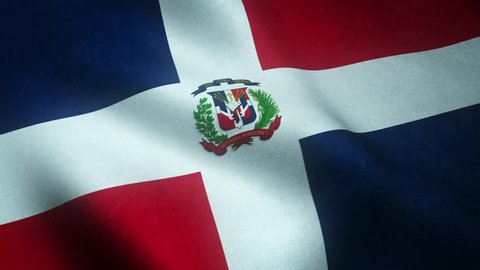Realistic flag of Dominican Republic waving with highly detailed fabric texture.