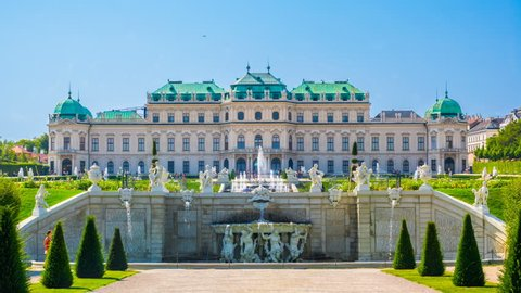 Vienna Belvedere Palace. Time lapse. Zoom effect