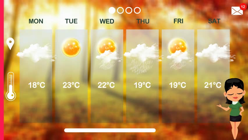 Weather forecast in vector animation | Shutterstock HD Video #1015784329