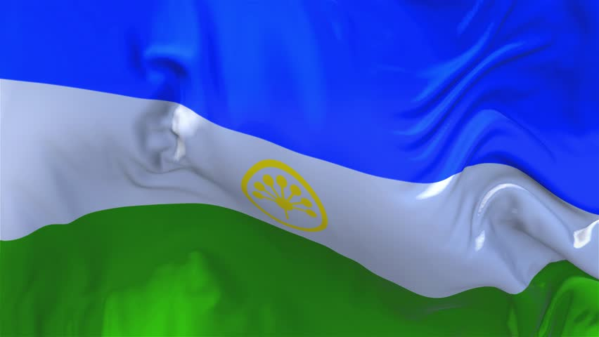 155. Bashkortostan Flag Waving in Wind Slow Motion Animation . 4K Realistic Fabric Texture Flag Smooth Blowing on a windy day Continuous Seamless Loop Background.