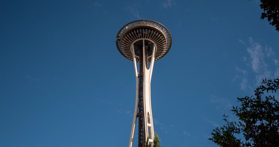 Hyper Lapse of Seattle Space needle on a sunny day. July 2018