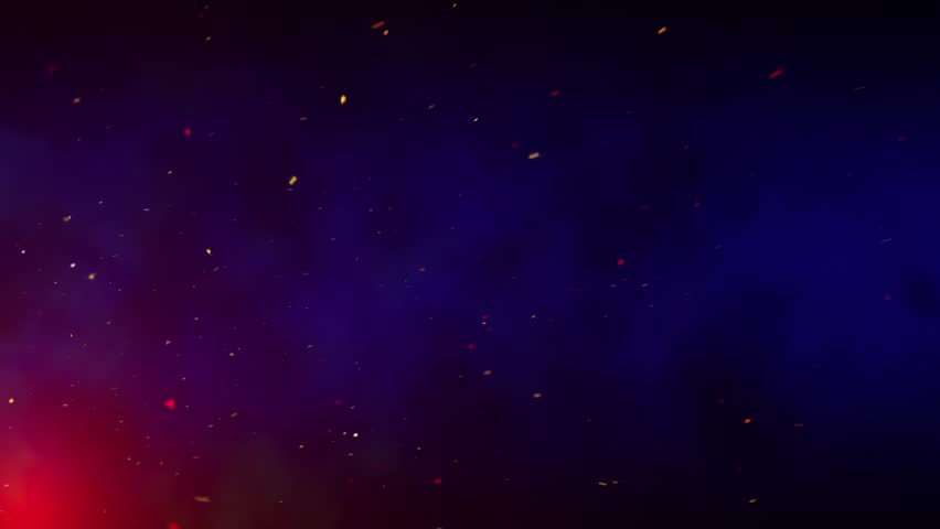 Flying sparks and smoke in the night sky, dark blue sky background with bright sparks, burning embers moving along with the smoke, seamless loop | Shutterstock HD Video #1015856869
