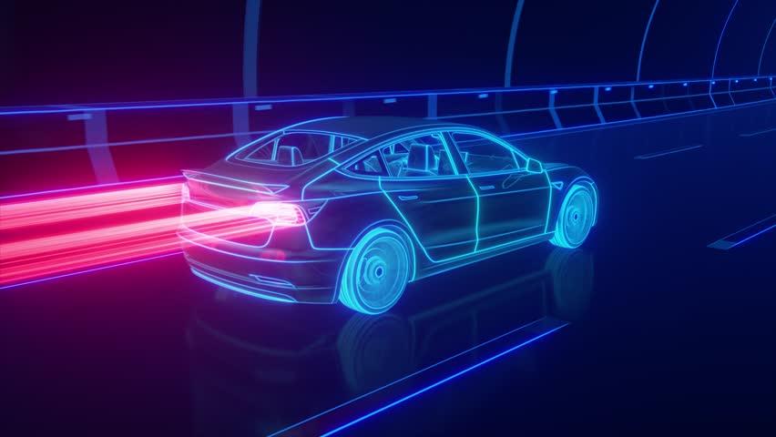 Blue glowing Modern Electric car rides through Blue tunnel #1015883569