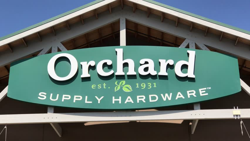 LOS ANGELES, Sep 1, 2018: Close up of an OSH Orchard Supply Hardware store sign and logo above a West LA store. The chain is set to close for good October 20th.
