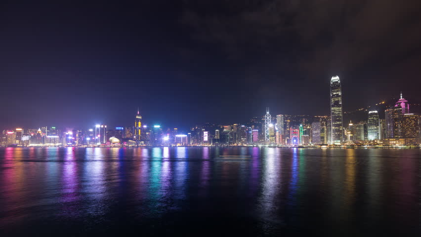Foggy night of Victoria Harbour in Hong Kong