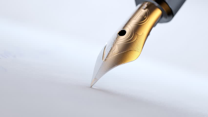 Gold and silver, detailed quill pen writing with ink on a sheet of paper. Close up of a blue ink sinking into a sheet of paper. Sign of agreeing and fulfiling an agreement.  | Shutterstock HD Video #1015905739