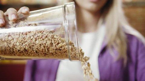 Bowl of oat breakfast cereal