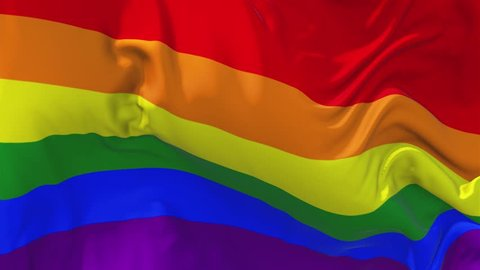 342. Gay Pride Rainbow Flag Waving in Wind Slow Motion Animation . 4K Realistic Fabric Texture Flag Smooth Blowing on a windy day Continuous Seamless Loop Background.