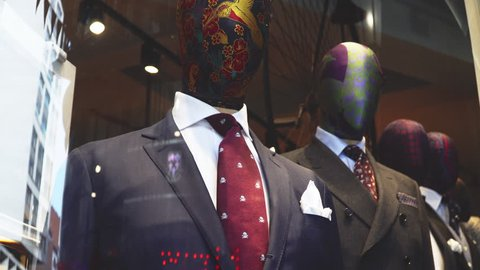 381ccdb3a Suit on the mannequin window shopping Retail fashion store shop front