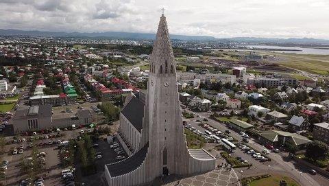 Aerial view. Iceland. The central church of Reykjavik - Hallgrimskirkja.