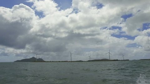 View Of Windmills in Indian Ocean from the Boat, Mahe Island, Seychelles 2