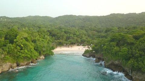 Port Antonio Jamaica Frenchman's Cove Beach Aerial Footage