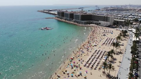 4K Aerial footage of the stunning beach at Alicante in Spain, taken with a drone in 2018