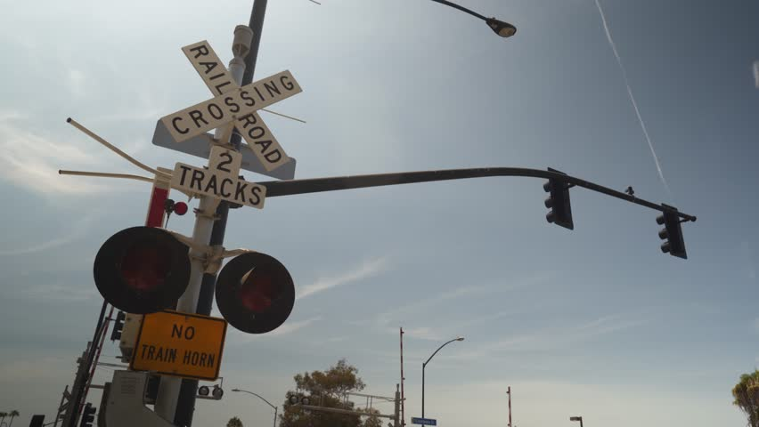 Railroad crossing lights | Shutterstock HD Video #1016072119